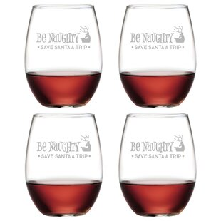 Be Naughty 21 oz. Stemless Wine Glass (Set of 4)