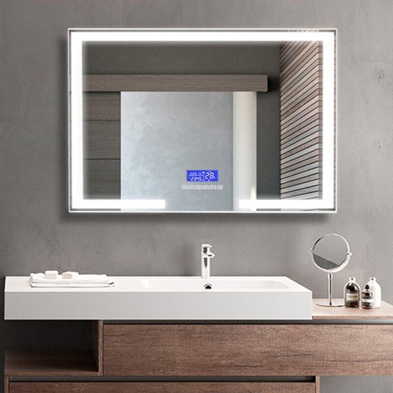 Brayden Studio Odea Illuminated Modern Contemporary Beveled Frameless Lighted Bathroom Vanity Mirror Reviews Wayfair