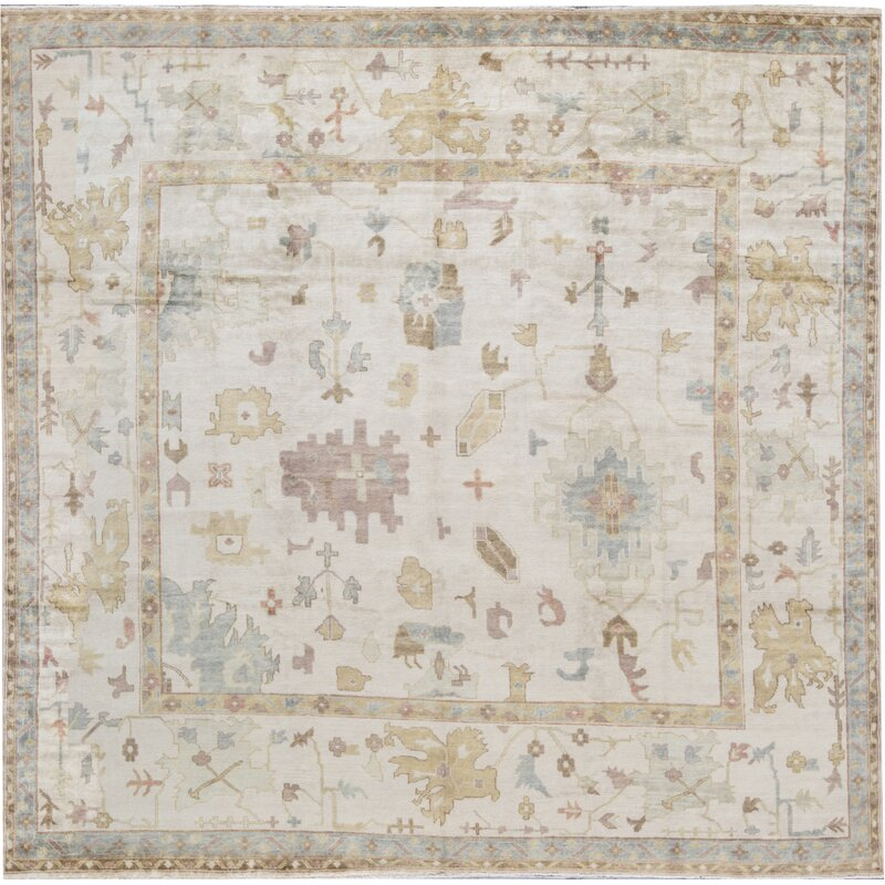 Bokara Rug Co Inc Square Demirji Oriental Hand Knotted Wool Ivory Area Rug Wayfair