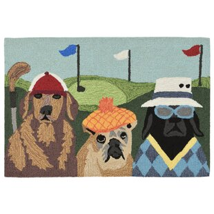 Mcmillan Putts and Mutts Hand-Tufted Green Indoor/Outdoor Area Rug