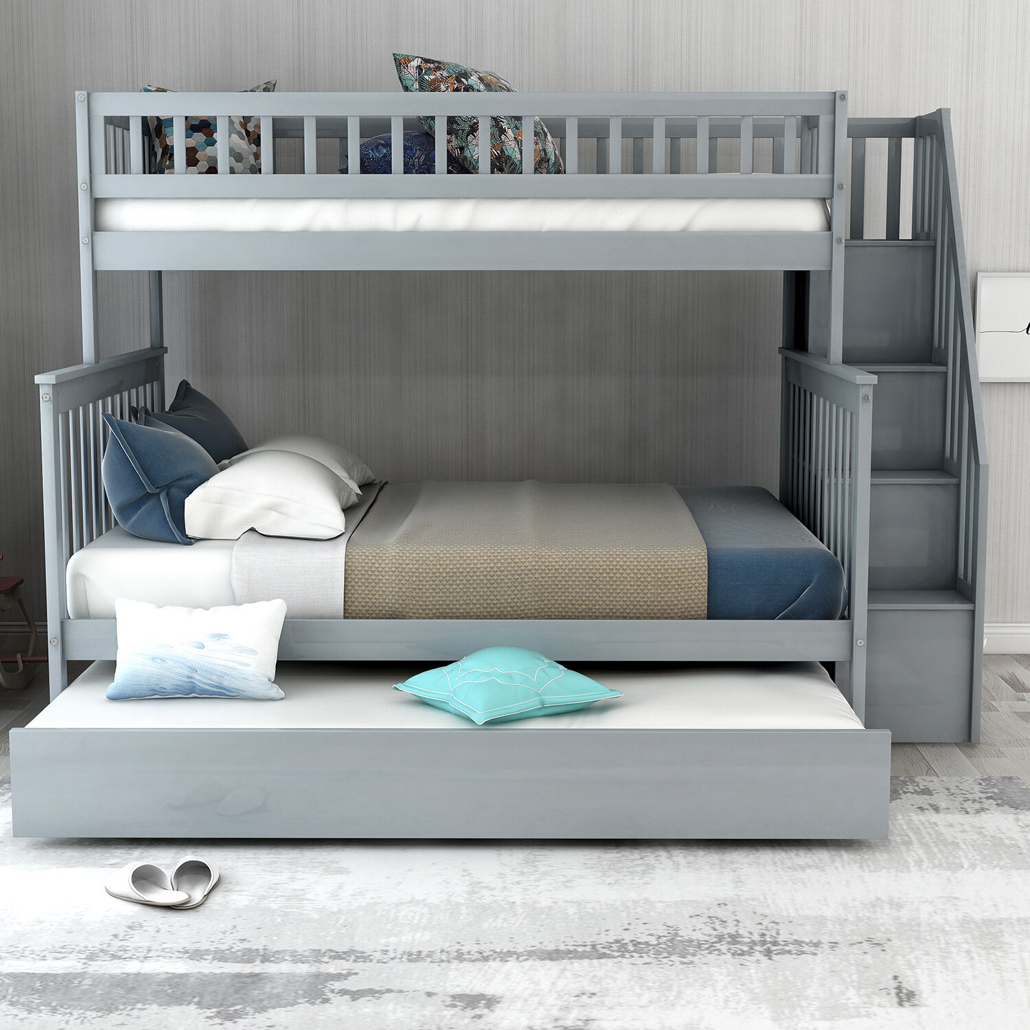 Trule Ferrell Stairway Twin Over Full Bunk Bed With Trundle And Shelves Wayfair