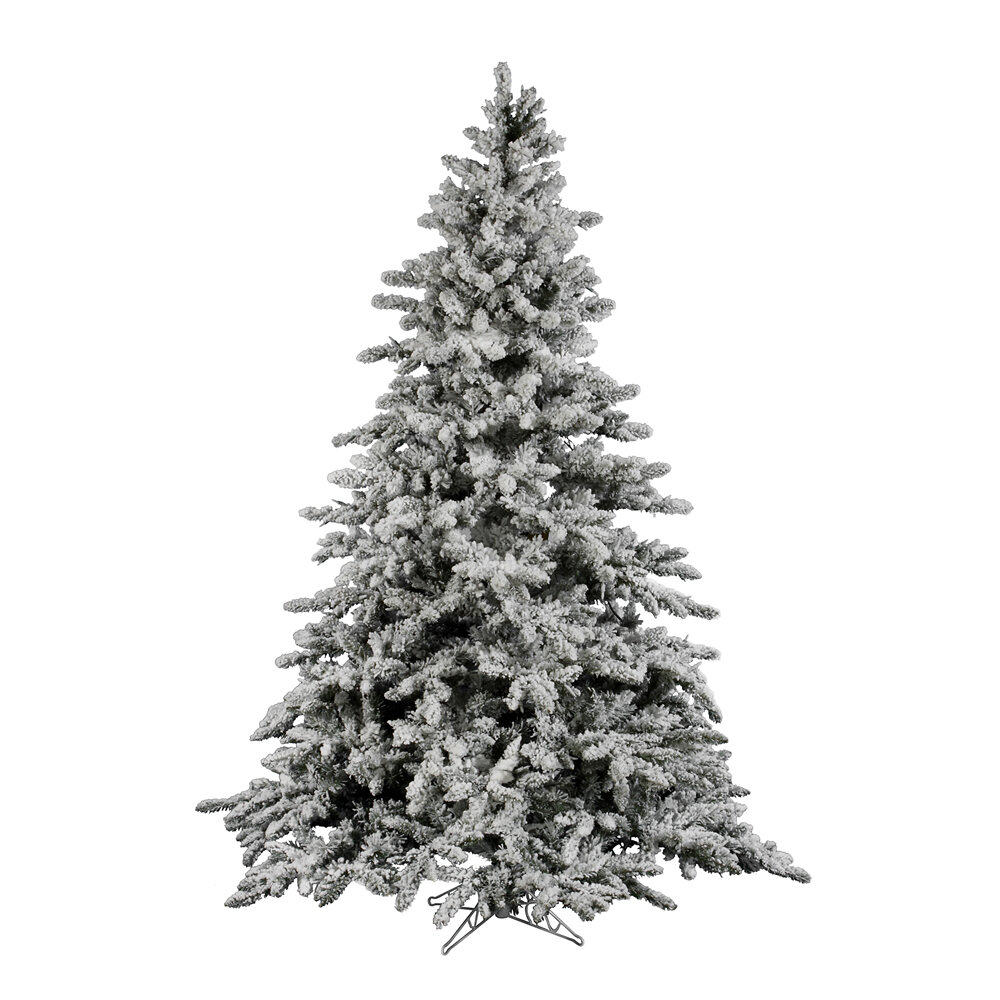 Vickerman Flock Utica 7.5\' Green/White Fir Trees Artificial ...