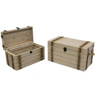 Delicieux Zalia 2 Piece Wood Storage Trunk Set