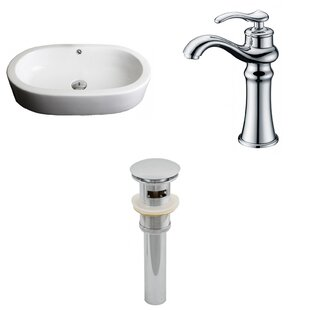 Semi-Recessed Ceramic Oval Vessel Bathroom Sink with Faucet and Overflow ByRoyal Purple Bath Kitchen