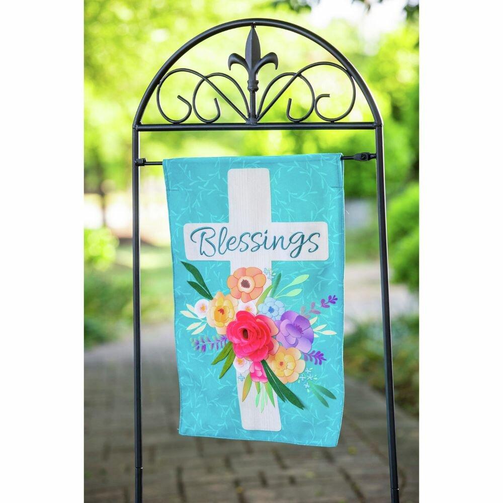 Evergreen Enterprises Inc Blessings Floral Cross 2 Sided Linen 18 X 13 In Garden Flag Wayfair