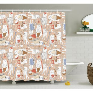 Lizzie Cartoon Musician Cute Cat With Drum Accordion Tube Guitar Shower Curtain By Ebern Designs