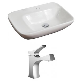 Read Reviews Ceramic 24 Wall Mount Bathroom Sink with Faucet ByAmerican Imaginations