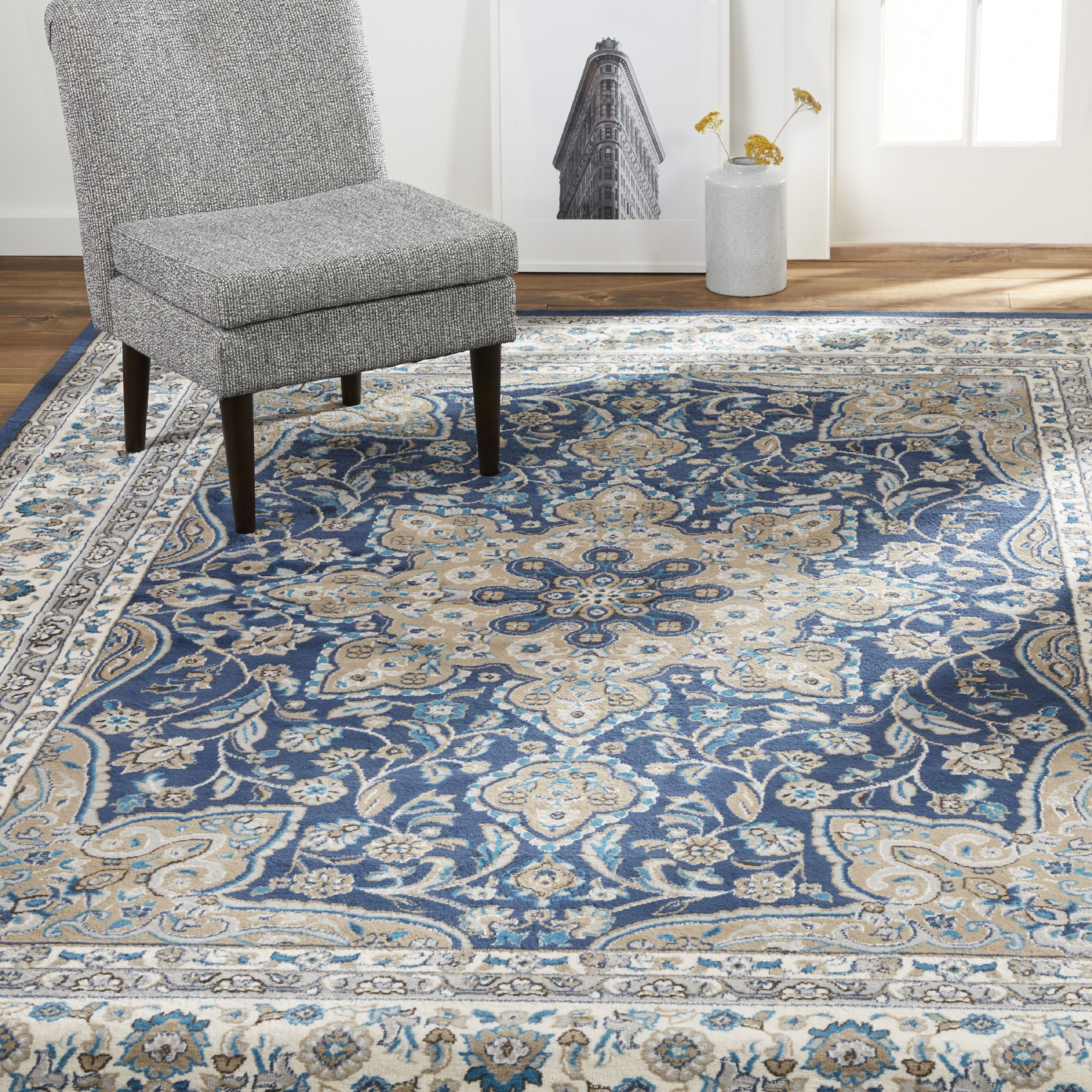Picture of: Andover Mills Mountview Oriental Navy Blue White Area Rug Reviews