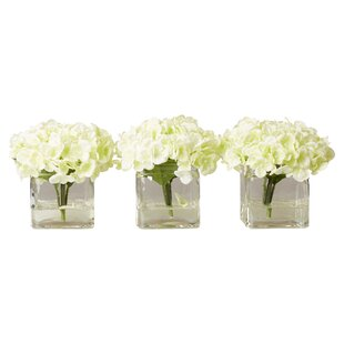 Faux Potted Mini Hydrangea Floral Arrangement in Vase (Set of 3)  sc 1 st  Joss \u0026 Main & Faux Flowers | Joss \u0026 Main