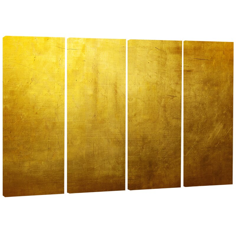 Designart Gold Texture Wallpaper 4 Piece Wrapped Canvas Graphic Art Print Set On Canvas Wayfair