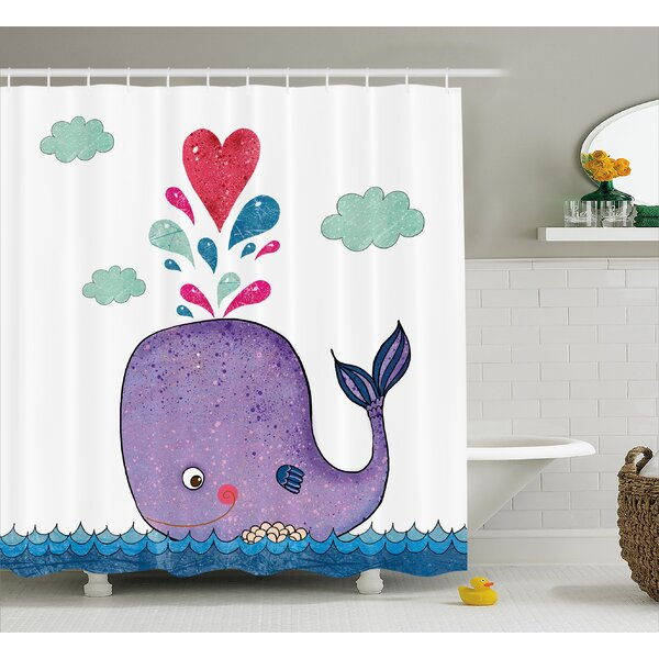 Harriet Bee Turner Smiley Whale With Cloud Shower Curtain