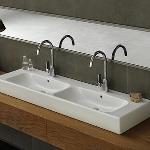 Inexpensive Pinto Ceramic Rectangular Vessel Bathroom Sink with Overflow By CeraStyle by Nameeks