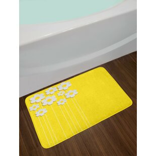 Spring Flowers Daisy Pattern on Clean Background Blossom Meadow Scenic Art Print Non-Slip Plush Bath Rug