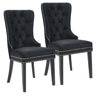 Melendy Velvet Side Upholstered Dining Chair (Set of 2)