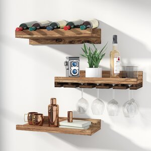 Dunlap 5 Bottle Wall Mounted 3 Piece Wine Bottle Rack