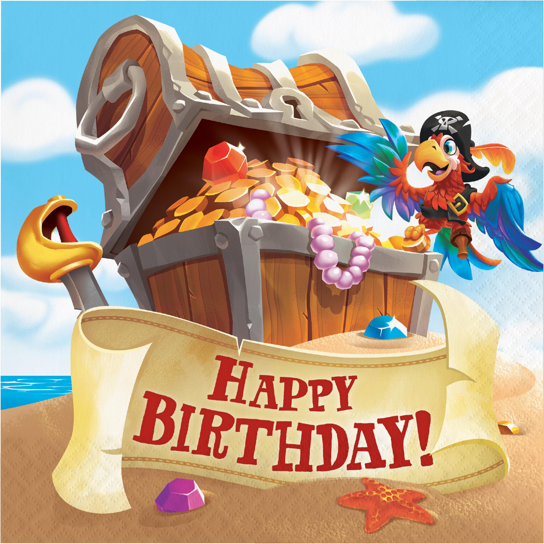 The Party Aisle Treasure Island Pirate Happy Birthday 6 5 Paper Disposable Napkins Wayfair