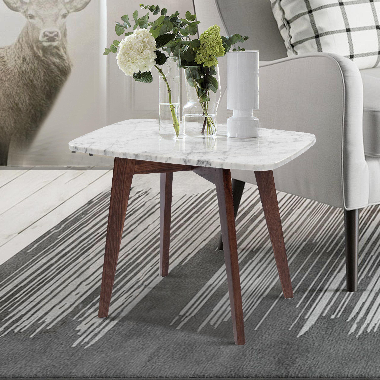 Hortencia Rectangular Italian Carrara White Marble End Table Reviews Allmodern