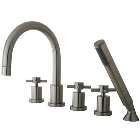 Concord Triple Handle Roman Tub Filler with Hand Shower
