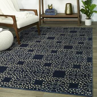 Charlton Home Giles Petra Palatial Navy Blue Area Rug Reviews Wayfair