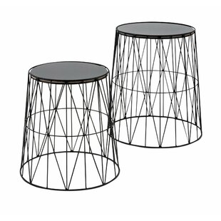 Kerry Round Glass 2 Piece End Table