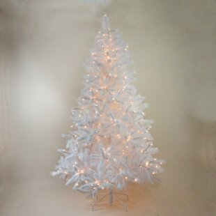 Pre-Lit Sparkling 7.5' White Alaskan Pine Artificial Christmas Tree with Clear Lights By The Holiday Aisle