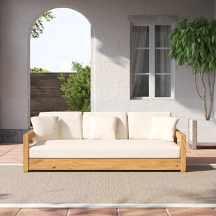 """Montford 76.55"""" Wide Outdoor Teak Patio Sofa with Cushions"""
