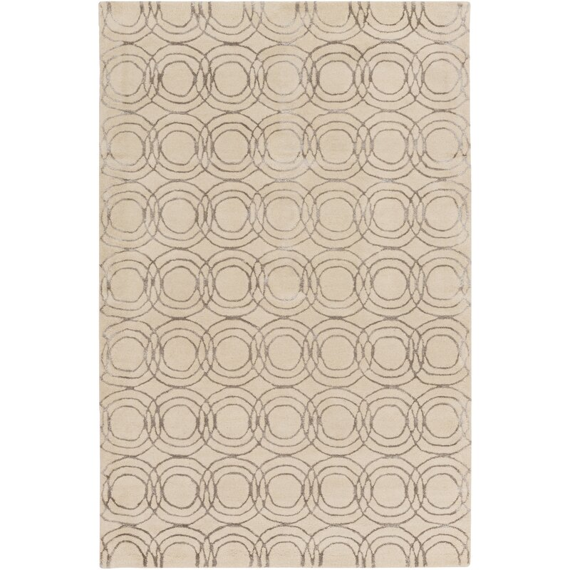 Alcott Hill Meader Hand-Tufted Cream/Taupe Area Rug, Size: Rectangle 8 x 10