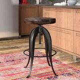 Grigor Swivel Solid Wood Adjustable Height Bar Stool by 17 Stories