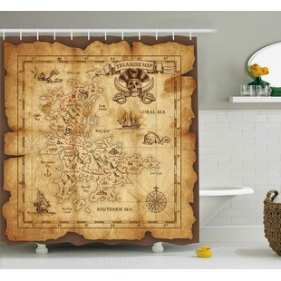 Susanna Old Paper Treasure Map Shower Curtain + Hooks