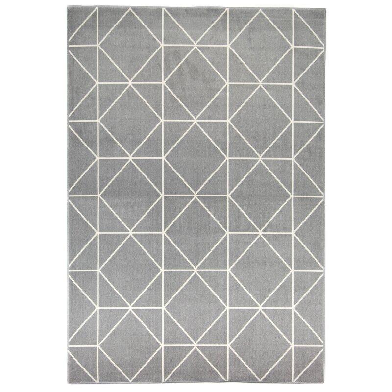 Wrought Studio Coletta Geometric White Gray Area Rug Wayfair