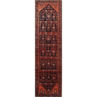 One-of-a-Kind Caruso Hamadan Persian Hand-Knotted Wool Red Indoor/Outdoor Area Rug by Bloomsbury Market