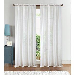 Goss Textured Solid Sheer Rod Pocket Single Curtain Panel