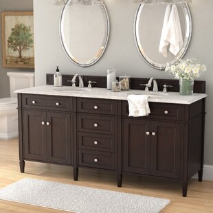 Deleon Traditional 72 Double Burnished Mahogany Stone Top Bathroom Vanity Set by Darby Home Co