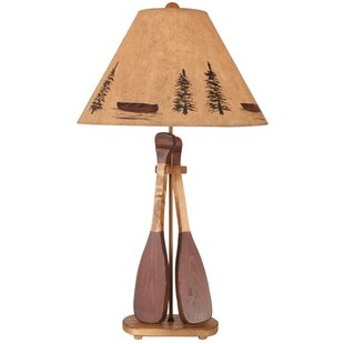 Rustic Living Wooden 2-Paddle 31 Table Lamp