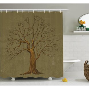 Tree Old Paper Effect Vintage Shower Curtain Set