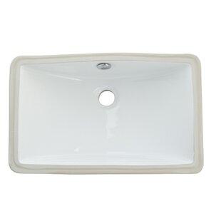 Courtyard Ceramic Rectangular Undermount Bathroom Sink with Overflow ByKingston Brass