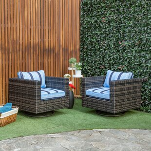 Malone Swivel Patio Chair with Cushions (Set of 2)