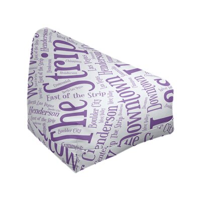 "Rand Cites City Barhood Districts Standard Class Bean Bag East Urban Home City: Las Vegas, Size: 42"" H x 38"" W x 29"" D, Fabric: Purple Polyester Blend"