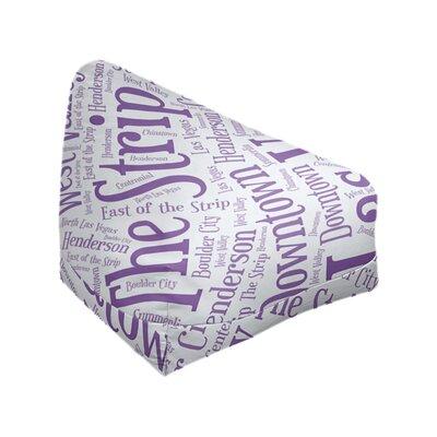 "Rand Cites City Barhood Districts Standard Class Bean Bag East Urban Home City: Las Vegas, Size: 42"" H x 38"" W x 29"" D, Fabric: Purple Polyester Blend"