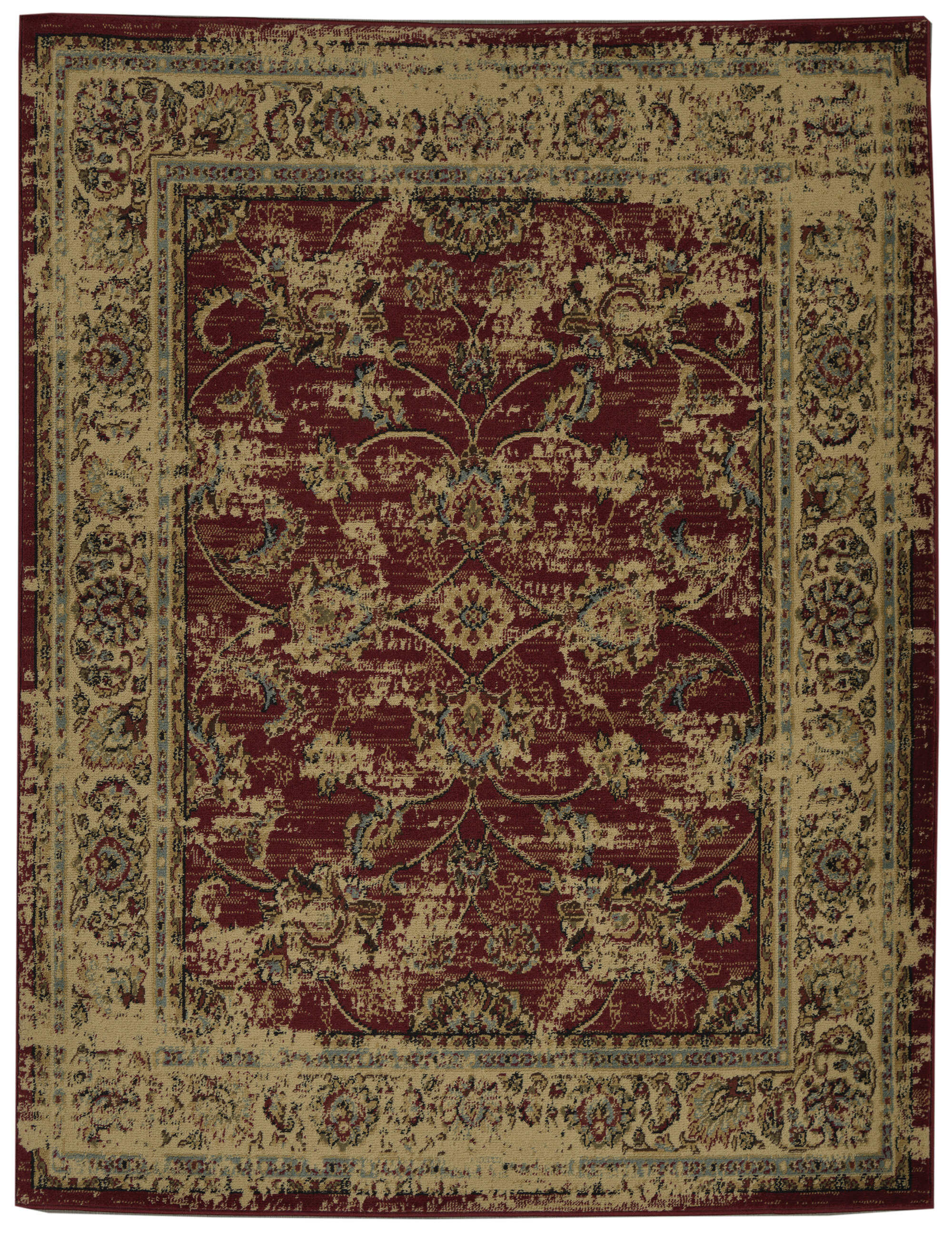 Charlton Home Lamberth Distressed Floral Redyellow Area Rug Wayfair
