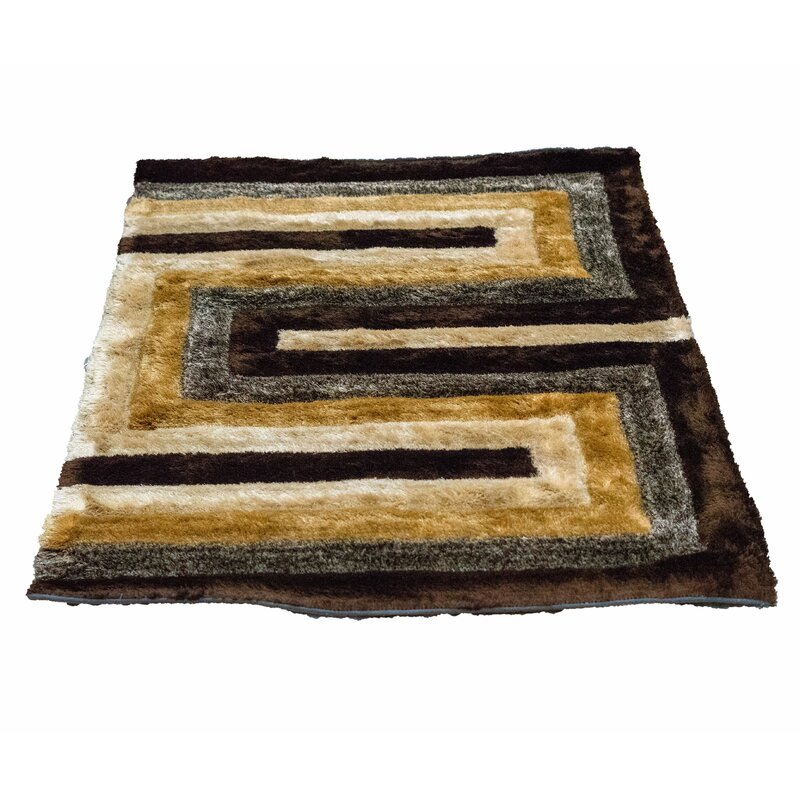 Latitude Run Letson Shaggy Hand-Knotted Beige/Gray Area Rug  Size: Rectangle 6 x 8