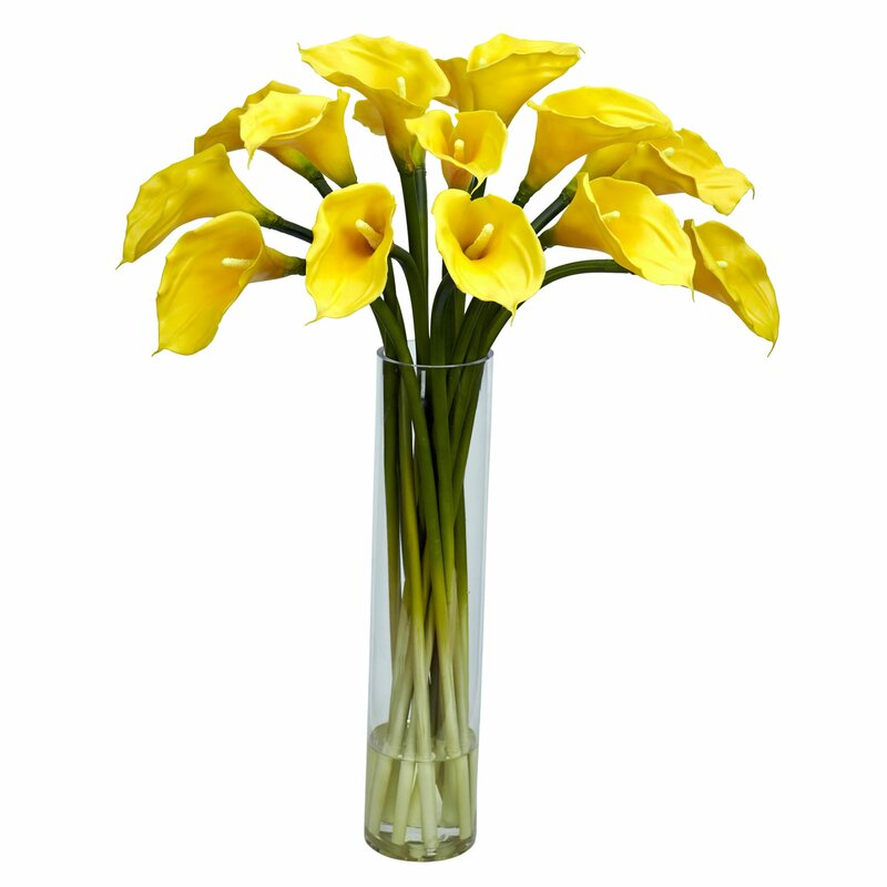 Nearly Natural Calla Lilly With Cylinder Silk Flower Arrangement In