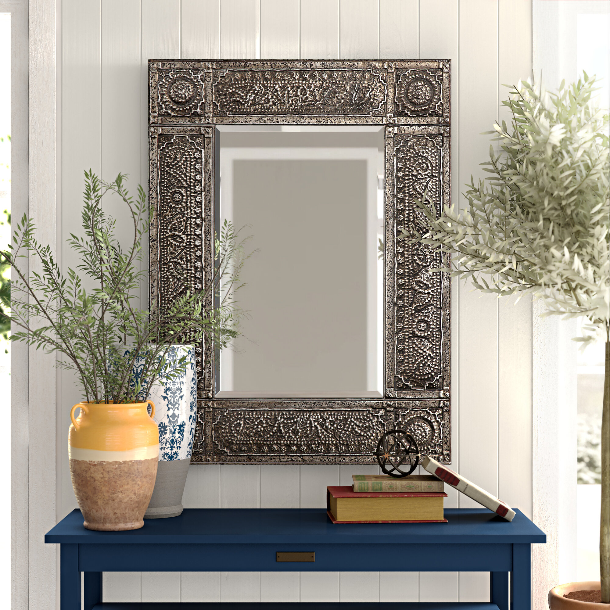 Turrell Beveled Distressed Accent Mirror Reviews Birch Lane