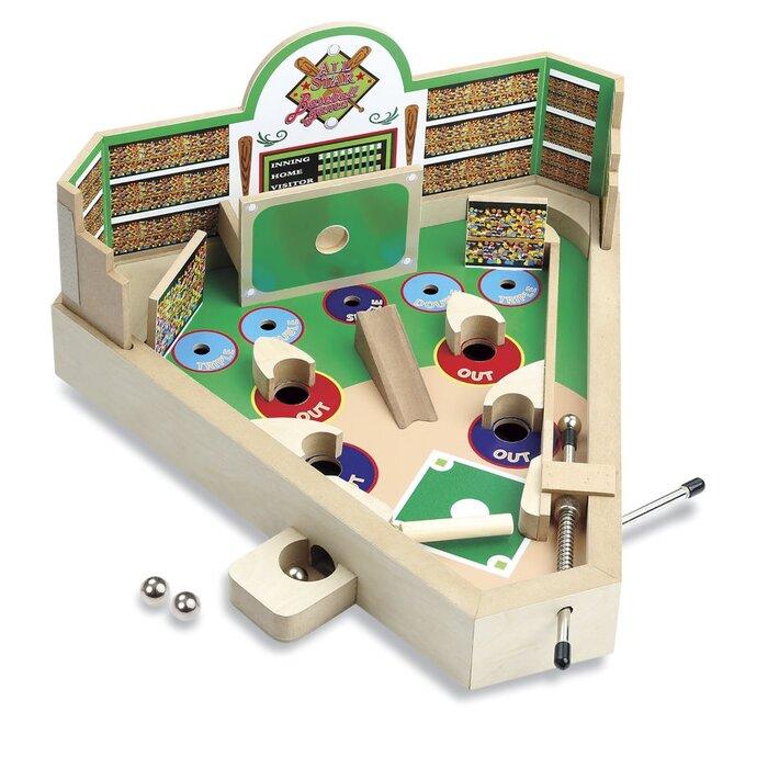 Classic Wooden Tabletop Pinball Machine Wood Baseball Game