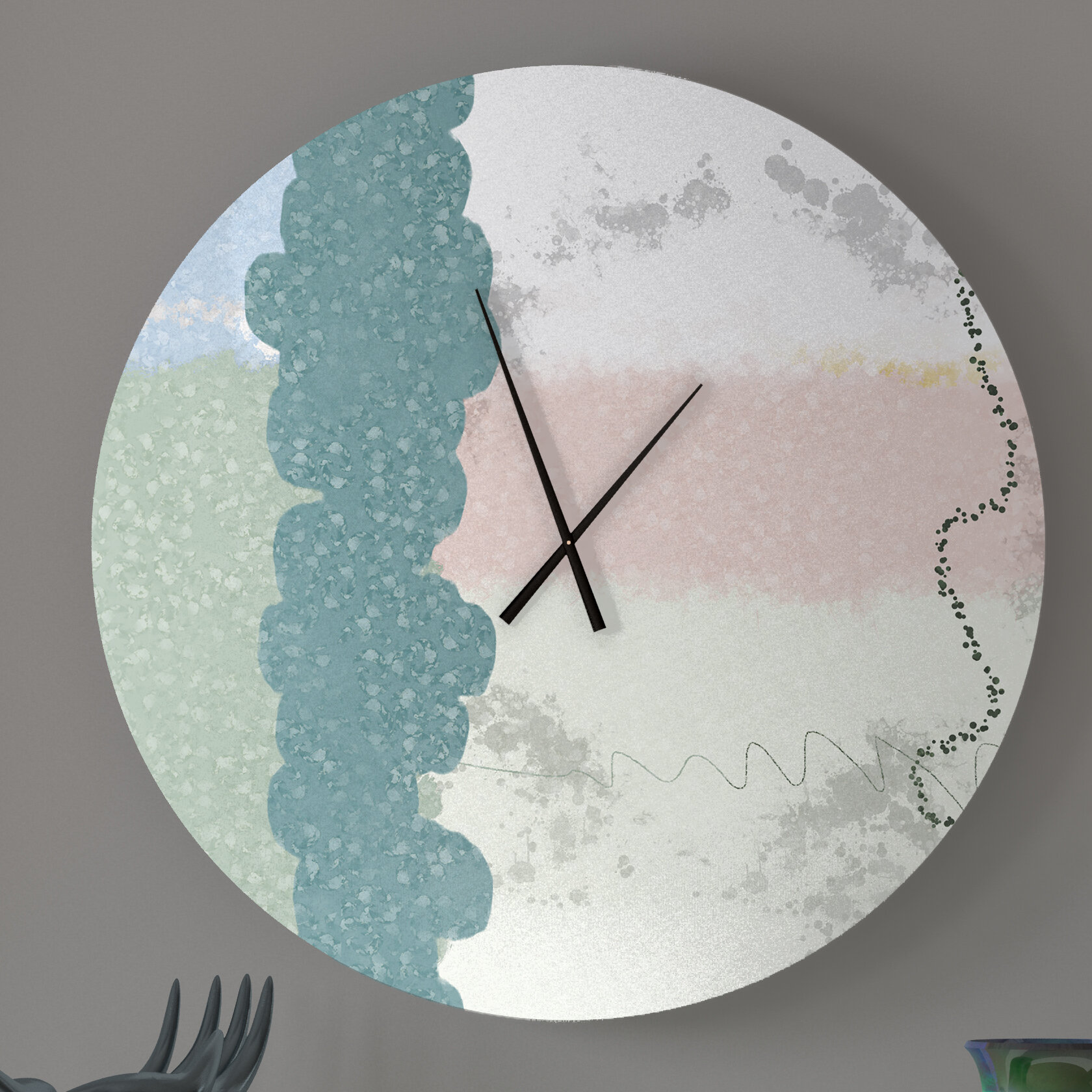 Ebern Designs Up To Date Bound Abstract Metal Wall Clock Wayfair