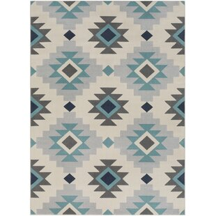 Reviews Schafer Aqua/Beige Area Rug By Union Rustic