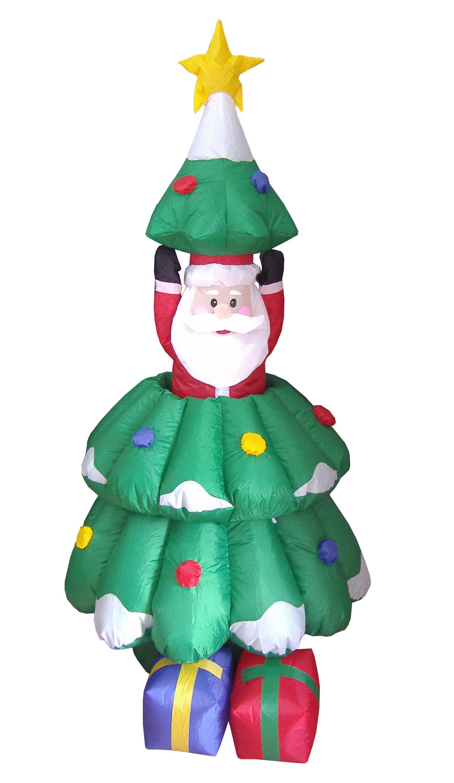 Christmas Tree Inflatables.Christmas Inflatables Animated Santa And Tree Decoration