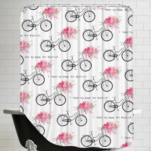 Affordable Price I Want to Ride My Bicycle Shower Curtain ByEast Urban Home