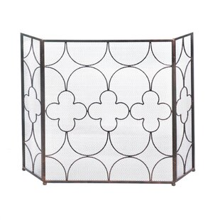 Clover 3 Panel Iron Fireplace Screen by Zingz & Thingz