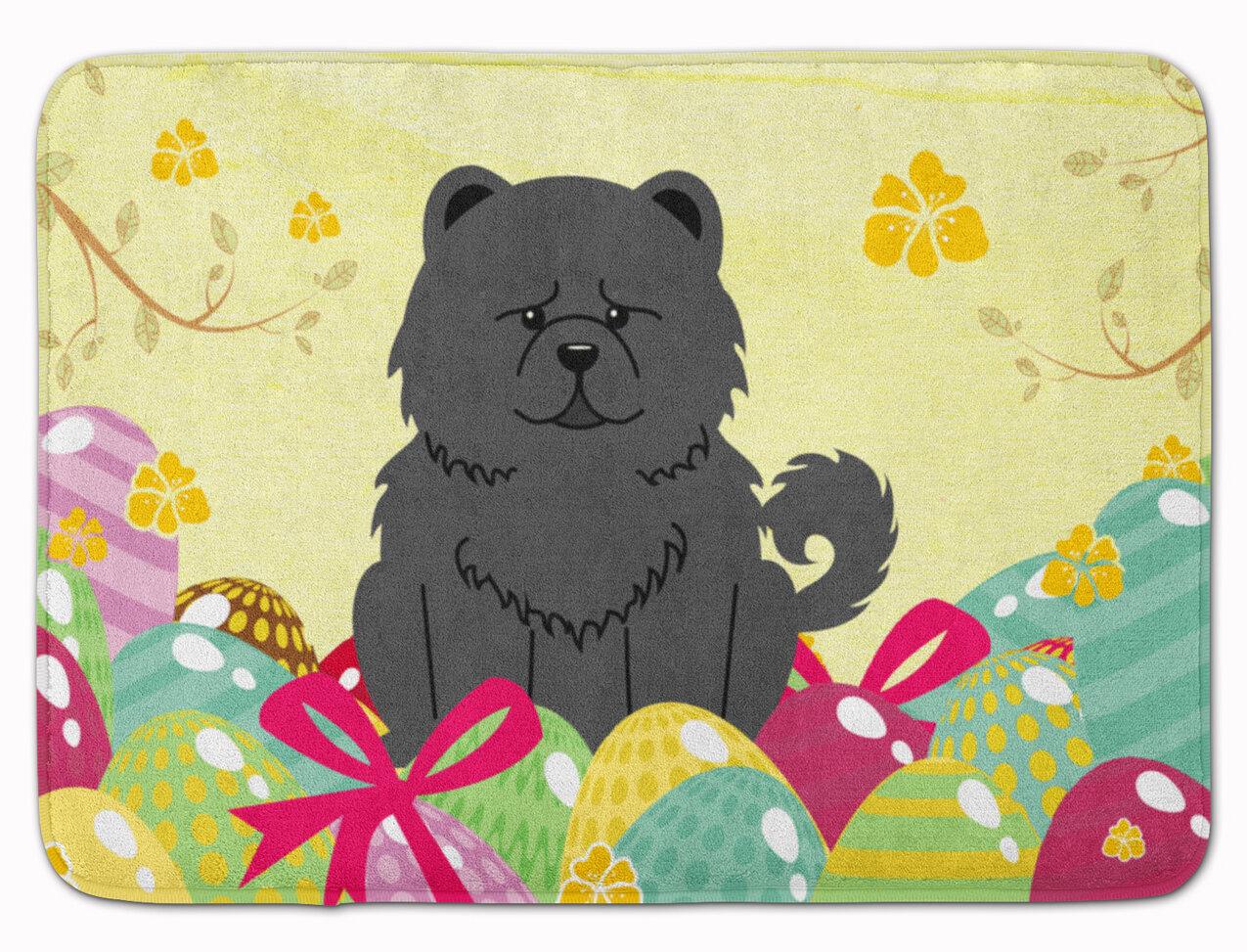 The Holiday Aisle Easter Eggs Chow Chow Rectangle Microfiber Non Slip Bath Rug Wayfair